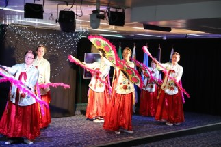 Korean Fan dance displayed by some of the volunteers on board the Logos Hope.