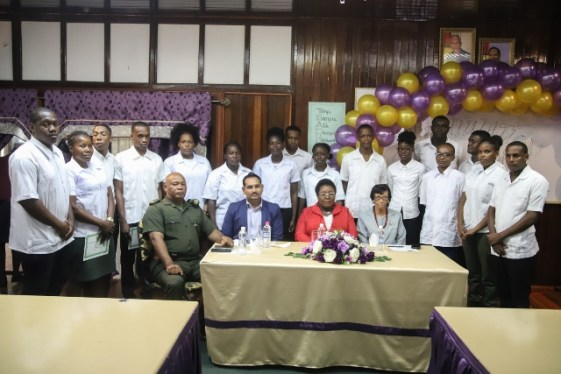 Principal of the Carnegie School of Home of Economics, Myrna Lee, Director of the Tourism and Hospitality Association of Guyana (THAG), Mitra Ramkumar, Base Commander, Major Earl Edghill and the graduating students.