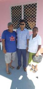 Mayor of Georgetown, Pandit Ubraj Narine with residents of Tuschen, Region 3