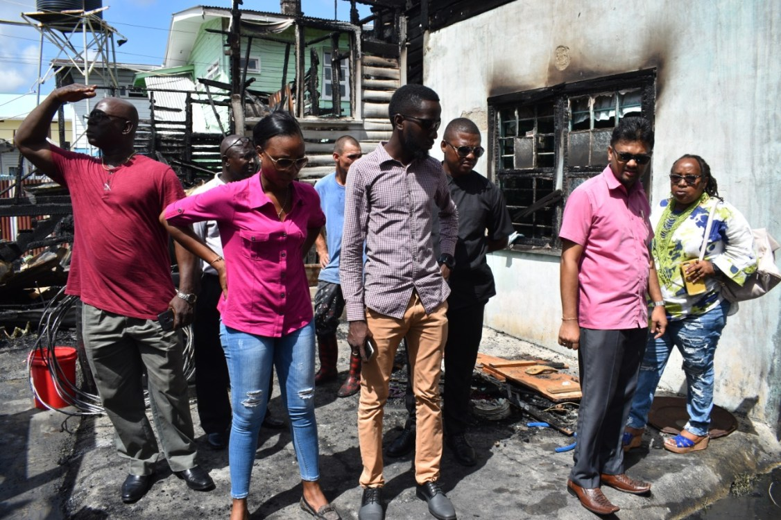 Mayor of Georgetown, His Worship Pandit Ubraj Narine and team visited the fire scene on Friday