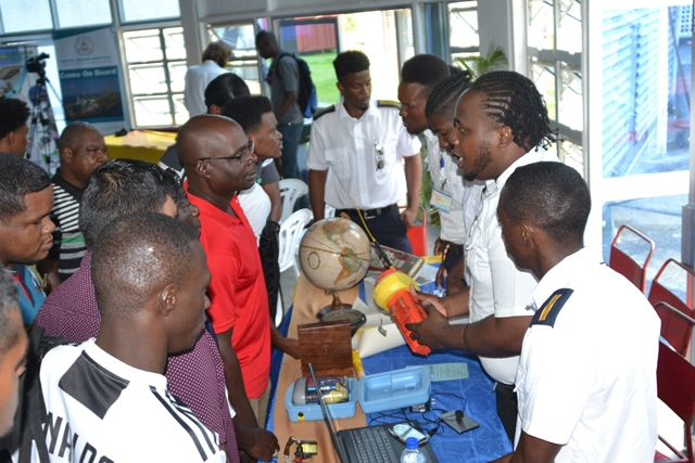 Cadets from MatPal Marine Institute interacting with youth at the inaugural career forum.