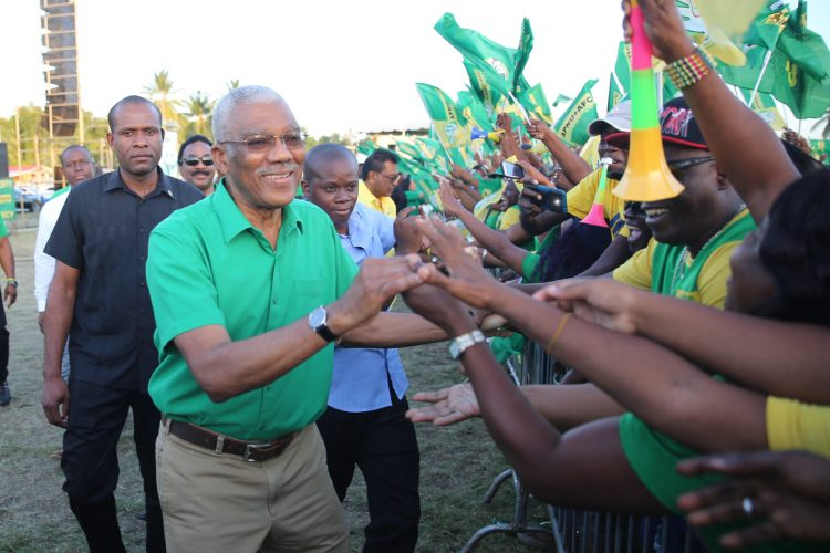 President David Granger greeting supporters at the Golden Grove Community Ground Rally on the East Coast of Demerara