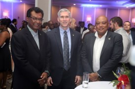 Minister of Public Security Khemraj Ramjattan who is also performing the duties of Prime Minister, ExxonMobil Country Manager Rod Henson and Minister of Natural Resources Raphael Trotman.