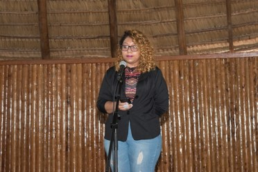 Gabriele Mohammed, Creole Poet, performing an original piece.