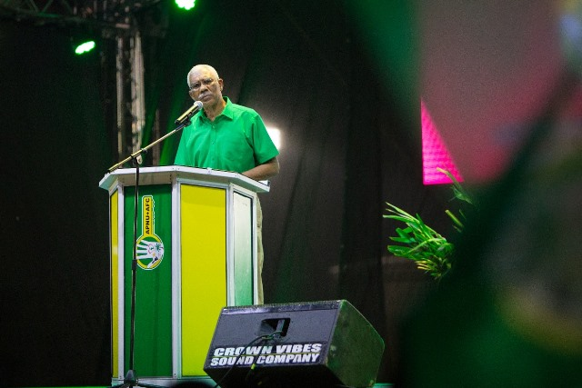 H.E. President David Granger addressing the crowd.