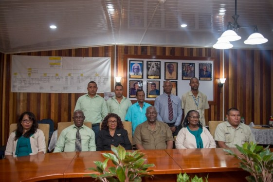Returning Officers with Chief Elections Officer, Keith Lowenfield and Rtd. Justice Claudette Singh, Chairperson, GECOM.