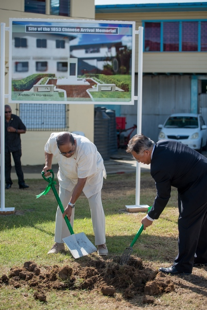 Prime Minister Hon. Moses Nagamootoo and Chinese Ambassador HE Cui Jianchun turning the sod for the erection of the Chinese Memorial at Windsor Forest.
