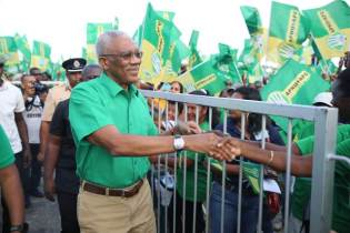 HE President David Granger greeting supporters as we arrive for the rally at Damon Square, Anna Regina.