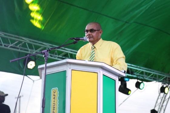 Minister of Business Hon. Haimraj Rajkumar addressing the rally at Anna Regina Market Square.