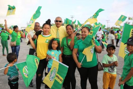Minister of Business Hon. Haimraj Rajkumar with supporters of the Coalition government at the Anna Regina rally.