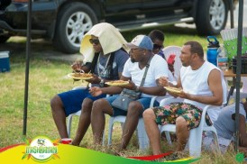 Patrons enjoying a plate of Guyanese fried rice as they look at the floats.