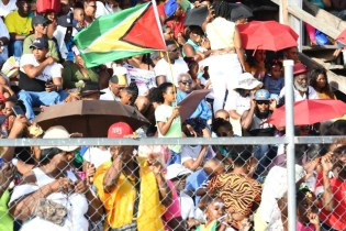 Packed stands at D' Urban Park as Guyanese and visitors gathered to watch the Mashramani 2020 Costume and Float parade.