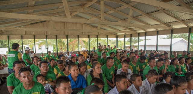 A section of the audience at Kamarang listening to Prime Minister Moses Nagamootoo.