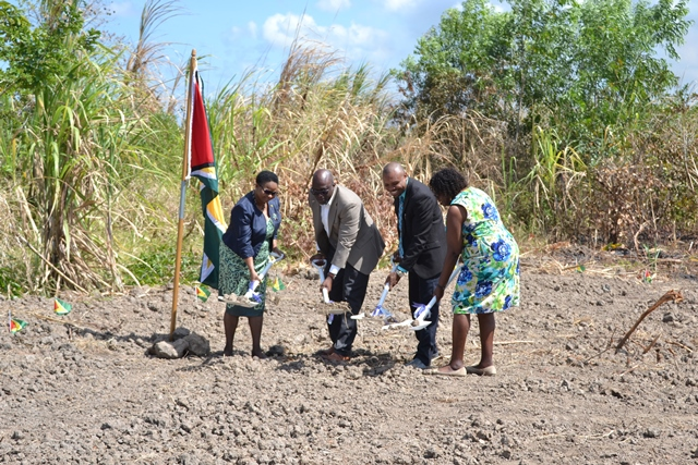Sod turn for the construction of a $83M Windsor Estate at Plantation Ogle, East Coast Demerara. [In photo from left] Public Health Minister, the Hon. Volda Lawrence, Chief Executive Officer acting of NICIL, Colvin Heath-London, representative of Navigant Builders Inc. Mark Thomas and Regional Chairman of Region 4, Genevieve Allen.
