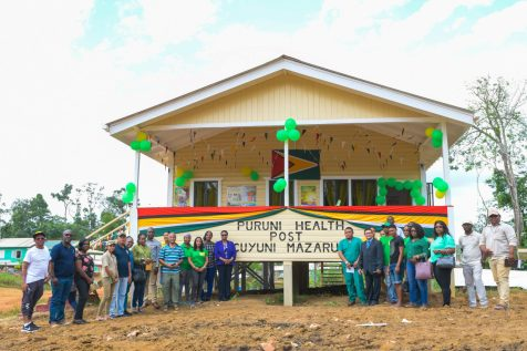 Minister of Public Health, Volda Lawrence along with MoPH officials and regional officials in front of the newly commissioned Puruni Health Post