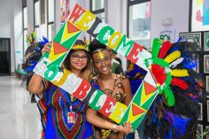 Some scenes from the welcoming activity at the Cheddi Jagan International Airport