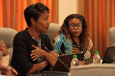 Trade Policy and Legal Specialist, Dr. Chantal Ononaiwu (left) addresses participants during the opening of the session.
