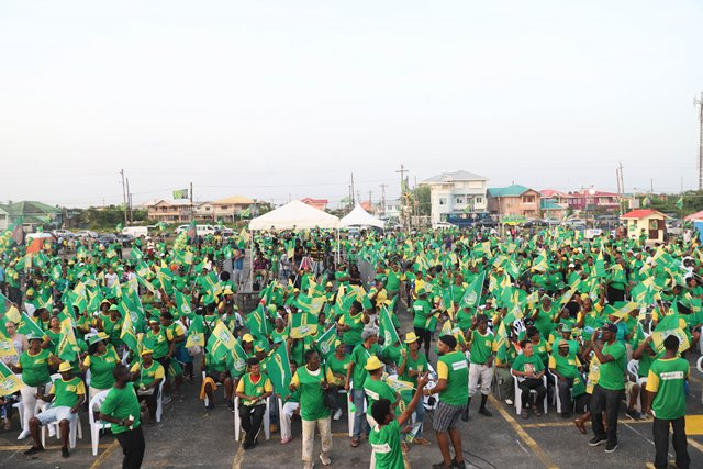 A section of the crowd at the Coalition Government campaign rally in Diamond, East Bank Demerara.