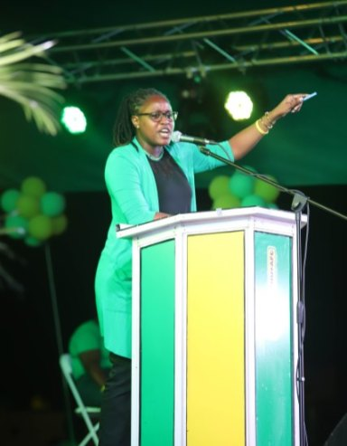 Minister of Public Service Hon. Tabitha Sarabo-Halley makes a point during her address at the women's rally.
