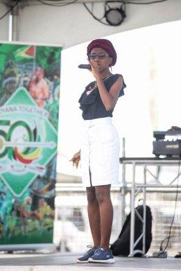 Omaiah singing at the opening of Mash Village 2020.