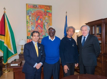 (l-r) H.E. Insanally, Dudley Charles, Stanley Greaves, and OAS Secretary General Luis Almagro.