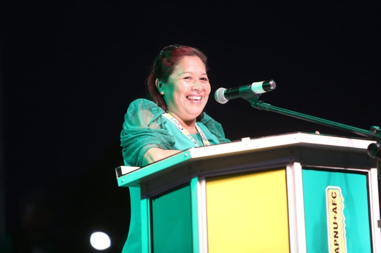 Minister of State, the Hon. Dawn Hastings-Williams addressing residents of Lethem