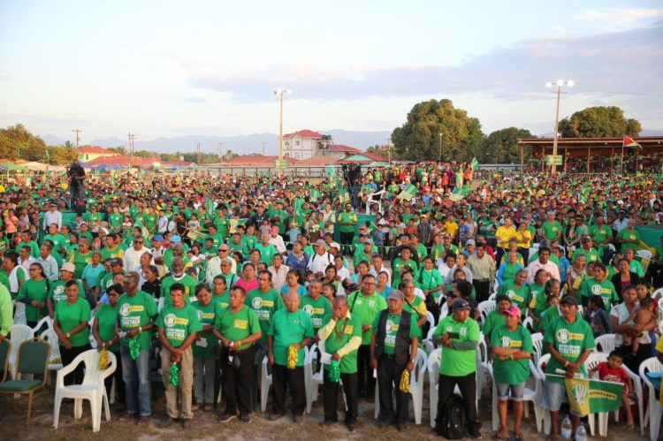 Sections of the crowd as they gathered for the rally in Lethem