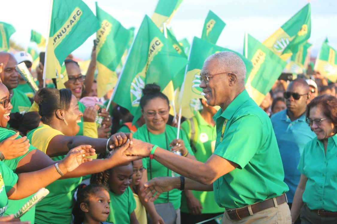H.E. President David Granger greets supporters at the rally in Lethem