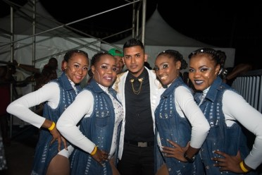 (flashback) Stephen Ramphal and his back-up dancers at the 2019 Soca Monarch semifinals in Linden.