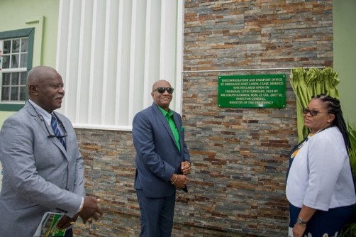 The $57.5M Immigration and Passport Office in East Berbice-Corentyne which was formally commissioned by Director-General (DG) of the Ministry of the Presidency, Joseph Harmon (second left) and Minister of Citizenship, the Hon. Winston Felix (left) and Regional Executive Officer, Kim Williams-Stephen (right).