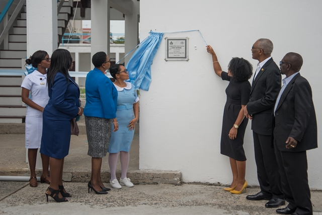 From left to right, Permanent Secretary Ministry of Public Health Colette Adams, Minister of Public Health Volda Lawrence, a Patient Care Assistant from the GPHC, Chairperson GPHC Board, Kesaundra Alves, President David Granger and CEO of the GPHC George Lewis.