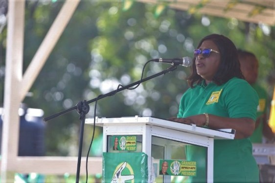Minister of Foreign Affairs Hon. Dr. Karen Cummings addressing the Mabaruma rally.