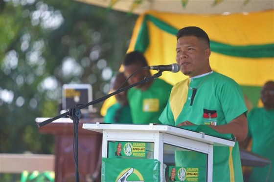 Ronald Cox young community leader in Mabaruma shares his views on the work of the Coalition Government with those gathered at the rally.