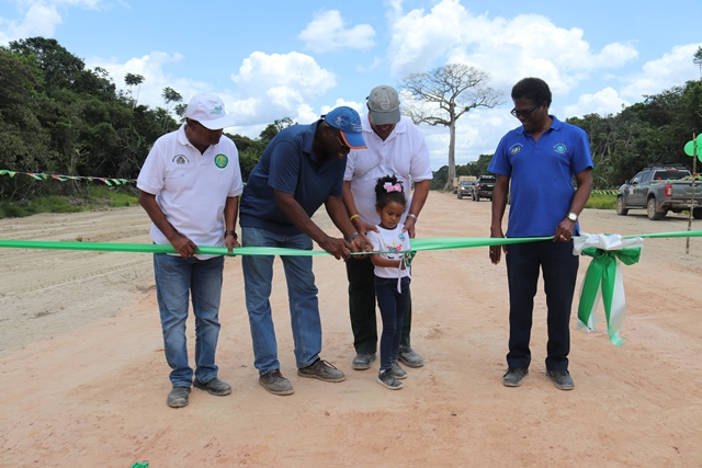 Minister Holder surrounded by NDIA CEO Fredrick Flatts (Right), NAREI CEO Oudho Homenaught (Far left) and GLDA CEO Nigel Cumberbatch (Left) as he guides a little engineer to cut the ribbon.