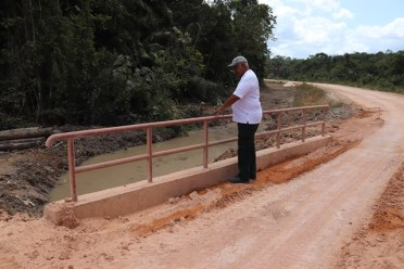 Minister of Agriculture Noel Holder inspects one of the three bridges built along the new road.