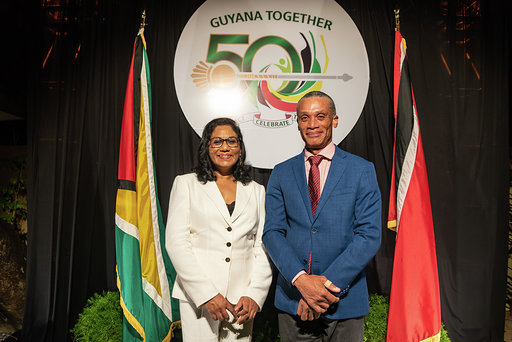 Photo of Acting High Commissioner of Guyana Ms Deborah Yaw with Foreign Minister of Trinidad and Tobago Hon Dennis Moses