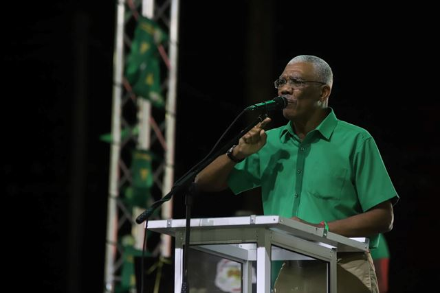 HE. President David Granger as he delivers his address at the Corriverton rally.
