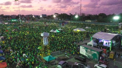 A section of the crowd at the Coalition's final rally before elections