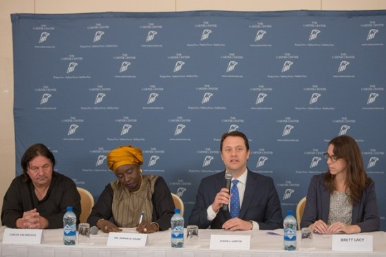 [L-R] Carter Center team member, Carlos Valenzuela; Former Prime Minister of Senegal and Co-leader of the Carter Center team, Dr. Aminata Touré; Chair of the Carter Center's Board of Trustees, Jason Carter, Carter Center team member, Brett Lacy.
