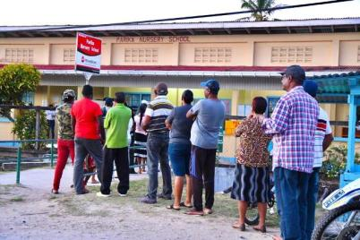 Voters lined up at the Parika Nursery School.