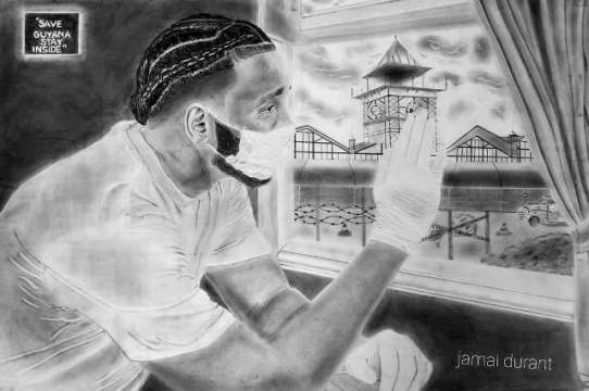 Art work completed by Jamal Durant raising awareness on the COVID-19 pandemic and the importance of social distancing