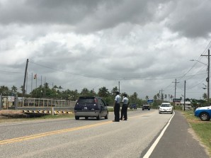 Ranks during a roadblock checks the number of passengers being transported