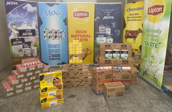 Some of the supplies donated to the Civil Defense Commission by DeSinco Trading Limited
