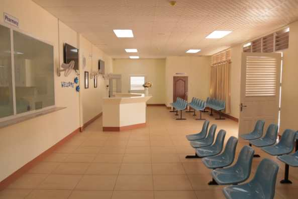 Waiting area of one of the pharmacies of the Port Kaituma Hospital