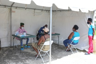 South Ruimveldt residents being screened (Simone Winter seated on the far right)