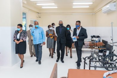 His Excellency President David Granger, Ministers Volda Lawrence and Winston Jordan during the tour of the facility