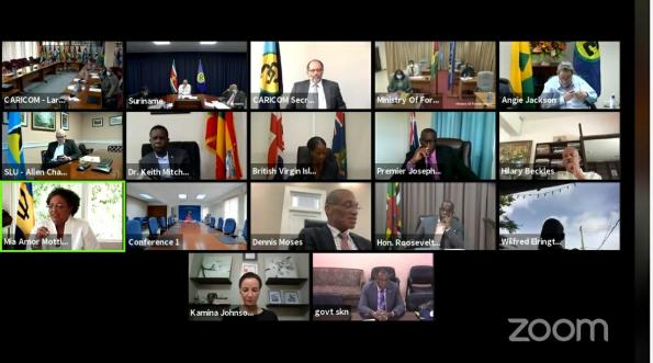 The virtual hand-over ceremony for the CARICOM Chairmanship