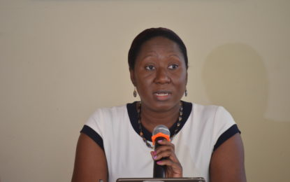 Dr. Oneka Scott- Maternal Child Health Officer makes a point during the ceremony