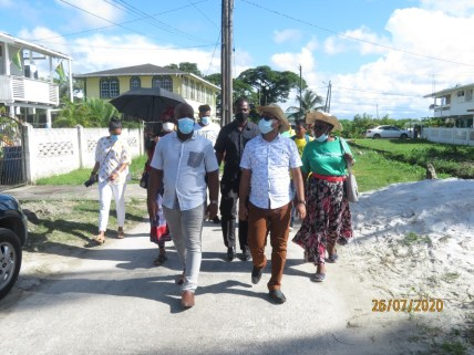 Mayor Ubraj Narine and Councillor for Roxanne Burnham Gardens, Denroy Tudor during the inspection of drainage works by the National Drainage and Irrigation Authority