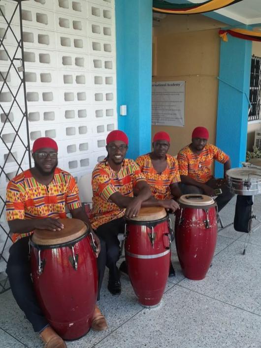 A few members of the Hebrew Family of Guyana Drummers (Shemuel Jones 2nd left)